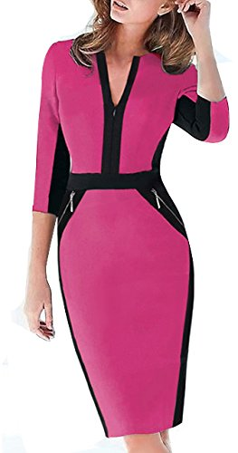 HOMEYEE Damen V Ausschnitt Strecken Tunika Party Kleid K837 Rosa