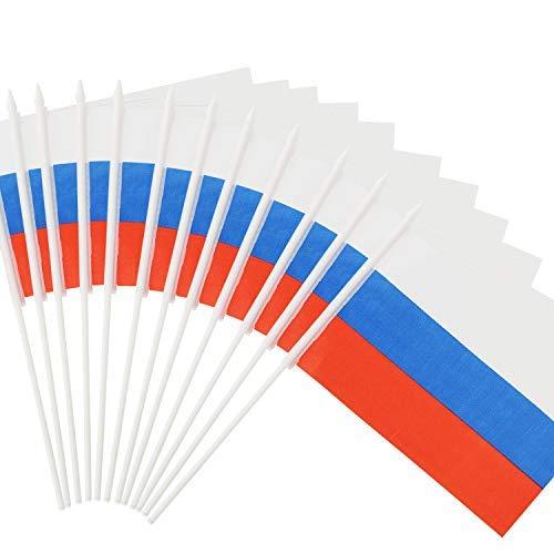 """Anley Russische 5x8 Zoll Handgehaltene Mini-Flagge mit 12"""" weißem, festem Mast - Russland Stick Flagge, lebendige Farbe und lichtecht - 5 x 8 Zoll Handgehaltene Stick Flaggen mit Speerspitze"""