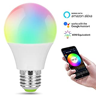 Smart-LED-Leuchtmittel Alexa, Google Home WiFi, Farbtonsteuerung durch Smartphone iOS Android Gerät-Lampe kommt mit E12 auf E27 Sockel Adapter 4,5 W (entspricht 40 W)