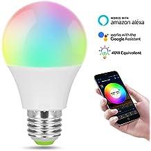 Bombilla inteligente WiFi, regulable, multicolor, luces de despertador, no se requiere concentrador, controlado a distancia por un teléfono inteligente