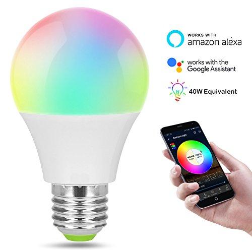 Edhua Bombilla de luz Inteligente WiFi,Luces de Encendido compatibles con Alexa y...