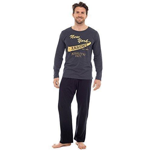 Herren Pyjama Set Langarm-top & Hosen Baumwoll Schlafanzug - Dunkelgrau New York Pfeile, Medium (Pyjama Set Hose Flanell)