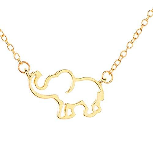 Elefantes Colgante Collar Lucky Hueco (Golden)
