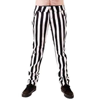 Jist - Jeans Pantalon Pour Hommes Rayures 2.5cm Blanches Noires Punk Rock Disco Taille du 38 au 46 - Weiß Und Schwarz, 28W x Regulär