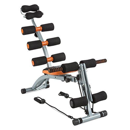 CAPITAL SPORTS Sixish Core Bauchtrainer Body-Trainer Fitnessgerät für Homegym mit elastischen Seilzugbändern & drehbarem Sitz (platzsparend, individuell anpassbar, stoßfangende Polsterung)