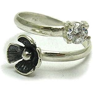 Sterling silber ring blume mit 5mm runde KZ 925 Empress Größe 46 - 69