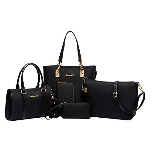 Damen Multifunktion PU Leder Handtaschen Umhängetasche Schultertasche Schulter 6 Stück Schwarz