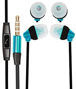 Premium 3.5mm In Ear Bud Handsfree Headset Earphones With Mic Compatible For Huawei Ascend P7 Mini -Cyan