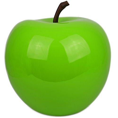 Hochwertiger Dekoration Apfel aus Fiberglas Garten Hochglanz grün Wetterfest Schaufenster Obst L ( Höhe:23 cm Durchmesser: 21,3 cm )