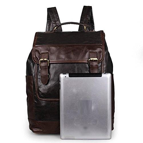 Everdoss Herren echt Leder Rucksack Daypacks modische Schulrucksack einzigartig Freizeitrucksack klein Backpack für Handy Ipad Geldbörse