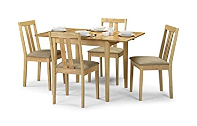 Julian Bowen Rufford Extending Dining Table Set with 4 Chairs, Light Wood - cheap UK dining table store.