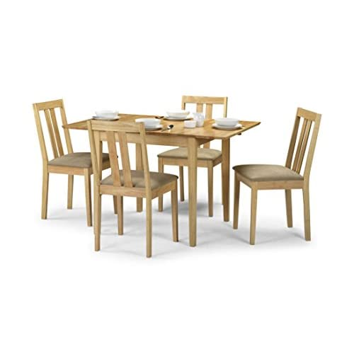 41k2HfRu%2BWL. SS500  - Julian Bowen Rufford Extending Dining Table Set with 4 Chairs, Light Wood