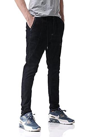 Pau1Hami1ton D-01 Super Stretch Skinny Fit Denim Jeans Homme (32,Dark Blue)
