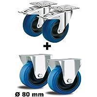 2 Lenkrolle 125mm je max 100kg 4 tlg Set Rollen 2x Lenkrolle mit Feststeller