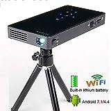 LMtt Smart Projector, Android 7.1 WiFi, Bluetooth, HDMI, Home Theater Mini Projector, DLP-Technologie, Hochleistungs-Lithium-Akku, bis zu Zwei Stunden
