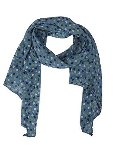 Zwillingsherz Zwillingsherz Seiden-Tuch mit Punkten - Hochwertiger Schal für Damen Mädchen - Halstuch - Umschlagstuch - Loop - weicher Schlauchschal für Frühjahr Sommer Herbst und Winter - blau