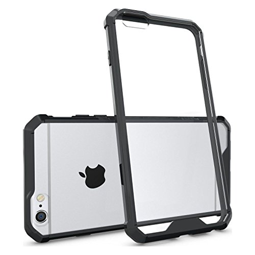 Cubix® Apple iPhone 6 Plus Case Transparent Back Cover, Camera Protection, Soft tpu Bumpber with Anti Scratch Acrylic Hard Back Case Fusion Technology - Black Transparent  available at amazon for Rs.699
