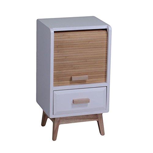 Mesita de noche de madera con 1 cajón y 1 puerta de persiana, combinado en color natural y blanco