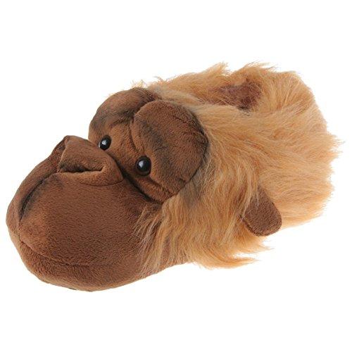 Utan Affe Tier Hausschuhe Pantoffel Puschen Schlappen Kuscheltier Plüsch Unisex Orange 36-48, TH-Affe, Schuhgröße 38/39 (Orang-utan-füße)