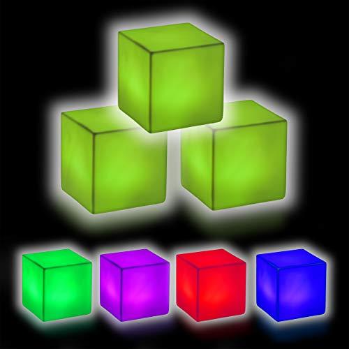 Relaxdays LED Würfel im 3er Set, LED Nachttischlampe, Leuchtwürfel mit Farbwechsel, kabellos, Deko, 6,5x6,5x6,5 cm, weiß