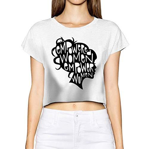 Bamboo Short Sleeve T-shirt (Empowered Women Women's Short Sleeve Leak Navel T Shirt Crew Neck Blouses Tops Shirt White S)