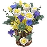 Fleurs D'argile Dollhouse Miniatures Fleurs Plantes Artificielles pour Décoration de Maison de Poupée