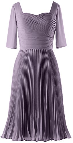 MACloth Women Half Sleeves Mother of Bride Dress Chiffon Cocktail Formal Gown Wisteria