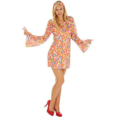 Frauenkostüm Blumenlady | Langes schönes Kleid mit Blumenmuster inkl. Haarband (S | Nr. (Jungen Ideen Hippie Kostüm)