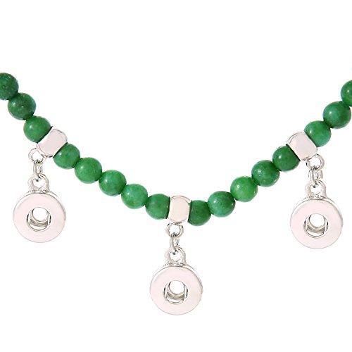 Morella Damen SMALL Click-Button Halskette 52 cm Naturstein Perlen grün -