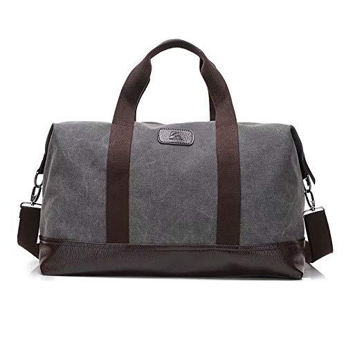MILASIA Weekender Bag Reisetasche Sporttasche Handtasche Canvas PU Leder Tasche Umhängetasche Schultertasche Henkeltasche 20L für Einkaufen Reisen Arbeit und Schule (grau)