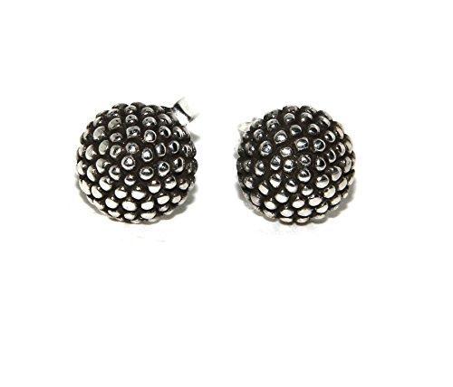 Argento 925 : coppia di orecchini donna mezza sfera borchiati lavorazione tipo sarda 8 10 12 mm (diametro 8 mm)