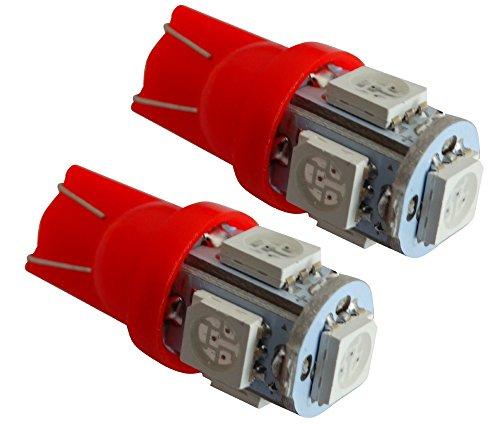 AERZETIX: Jeu de 2 ampoules T10 W5W 12V à 5 LED SMD (Rouge)