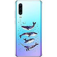 Suhctup Case Compatible con Huawei P30 Lite/Nova 4E Funda Transparente Suave Silicona TPU Bumper Cárcasa Dibujos Animales Diseño Ultra Delgada Antigolpes de Protector Piel Cover,Tiburón Brillante