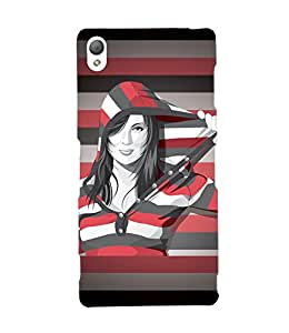 Fuson Multi lines Pattern Girl Back Case Cover for SONY XPERIA Z3 - D3880