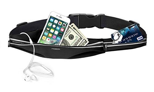 MoKo Cintura da Corsa,Marsupio Sportivo Impermeabile con Fasce Riflettenti in Tela Regolabile con Doppia Tasca per iPhone XS/XR/XS Max,Galaxy S10/S9, Nero (Compatibile con i cellulari Fino a 6')