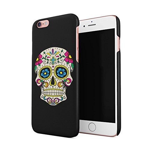 Red Skulls Snap (Schwarz Sugar Candy Blumen Red Rose Mexican Skull Pattern Dünne Rückschale aus Hartplastik für iPhone 6 Plus & iPhone 6s Plus Handy Hülle Schutzhülle Slim Fit Case cover)