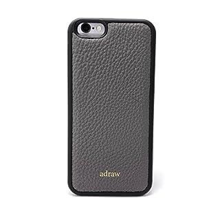 adraw iPhone 6/6s Echtleder Case, edle Schutzhülle, Luxus Handyhülle, Leder Case, Hülle, echt Leder Etui (Apple iPhone 6 / 6S, Grau)