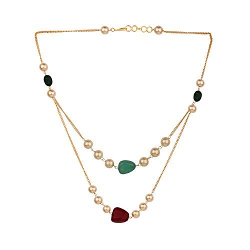 Efulgenz Layered Perle Halskette Indischen 14K Vergoldet Faux Rubin Smaragd Perlen Strand Fashion Kostüm Schmuck