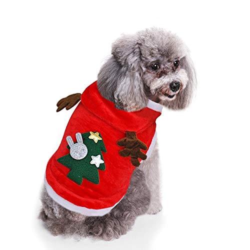 Ruri's Hundepullover, Weihnachtspullover, Katze, Elch, mit Kapuze, Winter, Hundekleidung, Haustier Jacke, Winddicht, kalte Wetter, L -