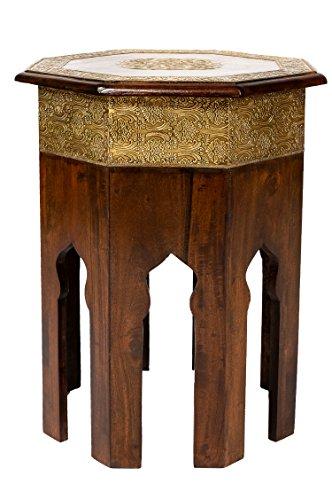 Marokkanischer Beistelltisch Couchtisch aus Holz massiv Oriental 52 cm | Vintage Tisch aus Massivholz mit Messing verziert für Ihr Wohnzimmer | Niedriger Orientalischer Sofatisch Massivholztisch Braun -