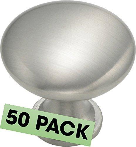 Schrank, runde Knopf, 1-1/4-Zoll Durchmesser 1-1/4-Zoll Durchmesser, Satin Nickel 50-er Packung Satin/Nickelfarben -