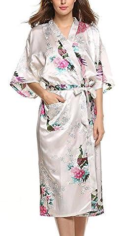 Minetom Women's Peacock Print Bathrobe Tie Waist Dressing Gown Ladies Soft Silk Satin Wrap Kimono Lightweight Robe Sleepwear Nightgown White UK 8