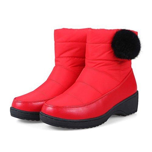 Heheja Donna Scarpa Caldo Addensare Stivaletti Tempo Libero Inverno Stivali Rosso