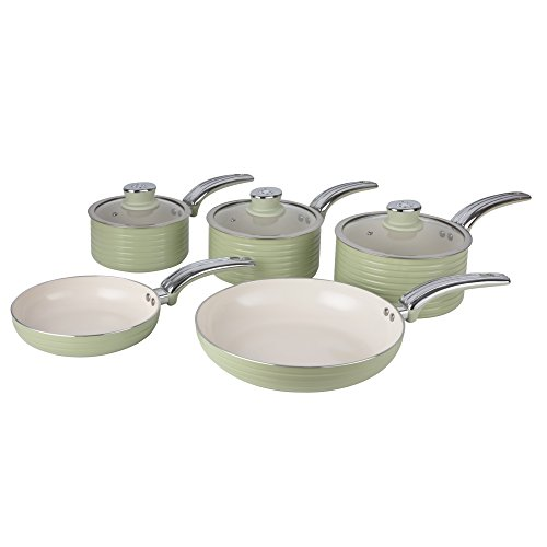 Swan Retro 5-Piece Pan Set with Ceramic Ivory Non-Stick Coating, Green