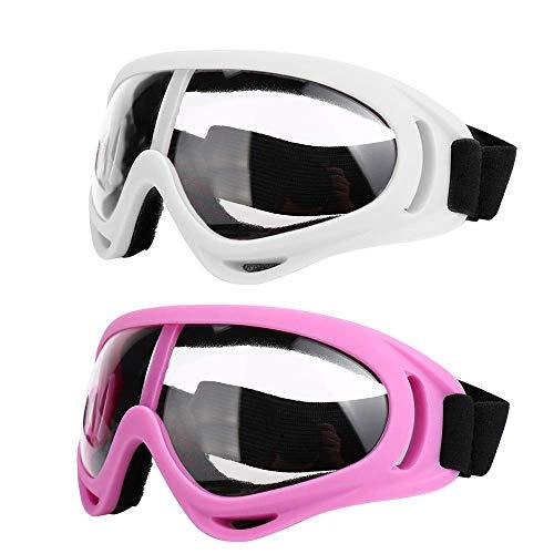 Motorradbrille - Brille 2er-Set - Dirt Bike ATV Motocross Anti-UV verstellbare Offroad-Schutzkampfbrille für Männer, Frauen, Kinder, Jugendliche, Erwachsene,Pink+White/Clear Lens
