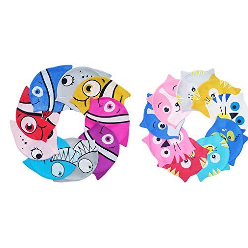 Provide The Best BOIHON Cartoon-Tierform-Schwimmen-Hut-Kind-Schwimmen-Kappe Silikon Stretch Wasserdicht Junge Mädchen Schwimmen Hut zufällige Farbe