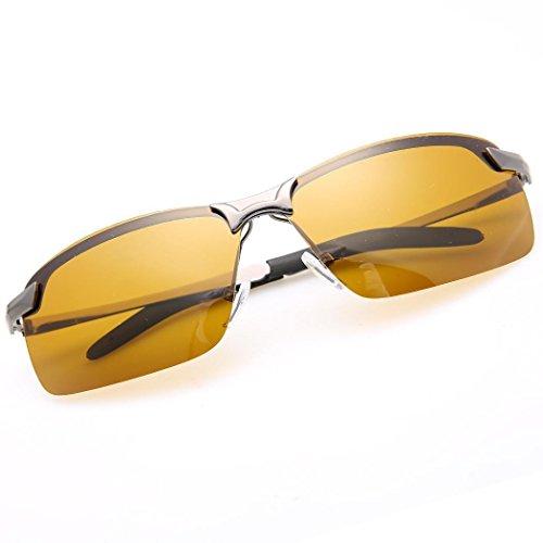 Nachtsichtbrille Herren, Tomasa Nachtfahrbrille Polarisiert Brille Gelbe Linse Anti-Glanz Fahren Brillen Kontrast-Brille Sonnenbrillen Schutzbrillen (Graue Brillenfassung)