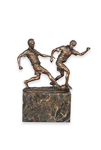 Massiv Bronze Statue/Trophy von zwei Fußball Player Mid Tackle Signiert Milo