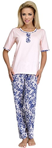 Merry Style Pyjama Femme 1017 Ecru/DunkelBleu