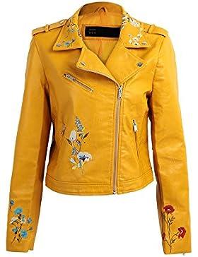 [Sponsorizzato]Romacci Donna Cappotto Punk Stile Giacca Moto Collare Ricamo Floreale In Pelle Pu Maniche Lunghe Casual Jacket